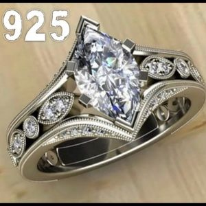 .925 Silver Simulated White Sapphire Ring, 6, 7